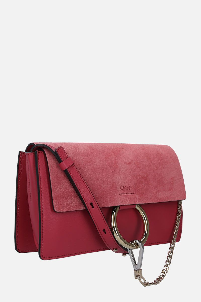 CHLOÈ: Faye small shoulder bag in smooth leather and suede_2