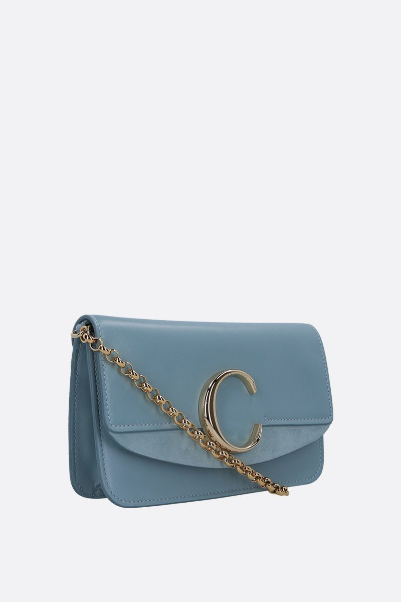 CHLOÈ: Chloè C chain clutch in smooth leather and suede_2