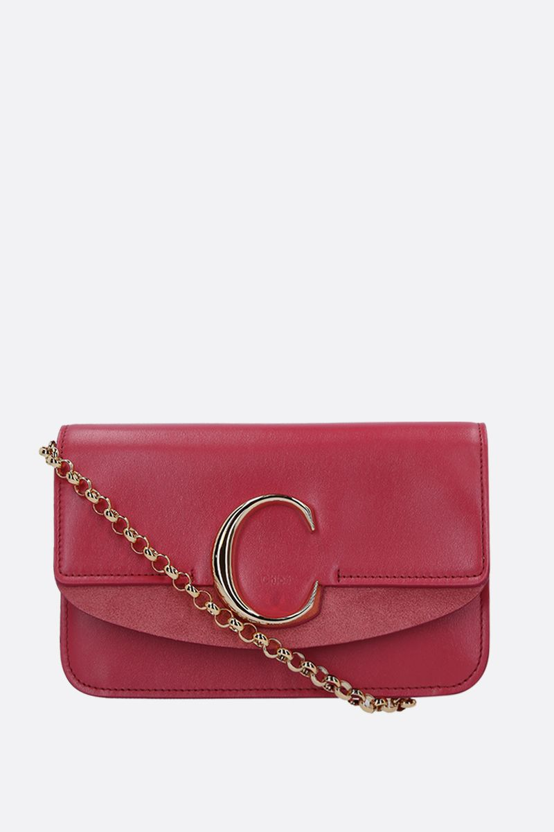 CHLOÈ: Chloè C chain clutch in smooth leather and suede_1