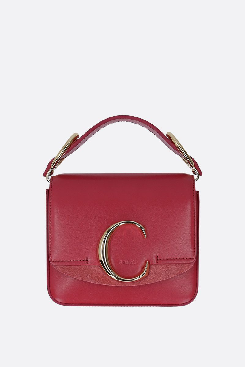 CHLOÈ: Chloè C mini shoulder bag in leather and suede_1