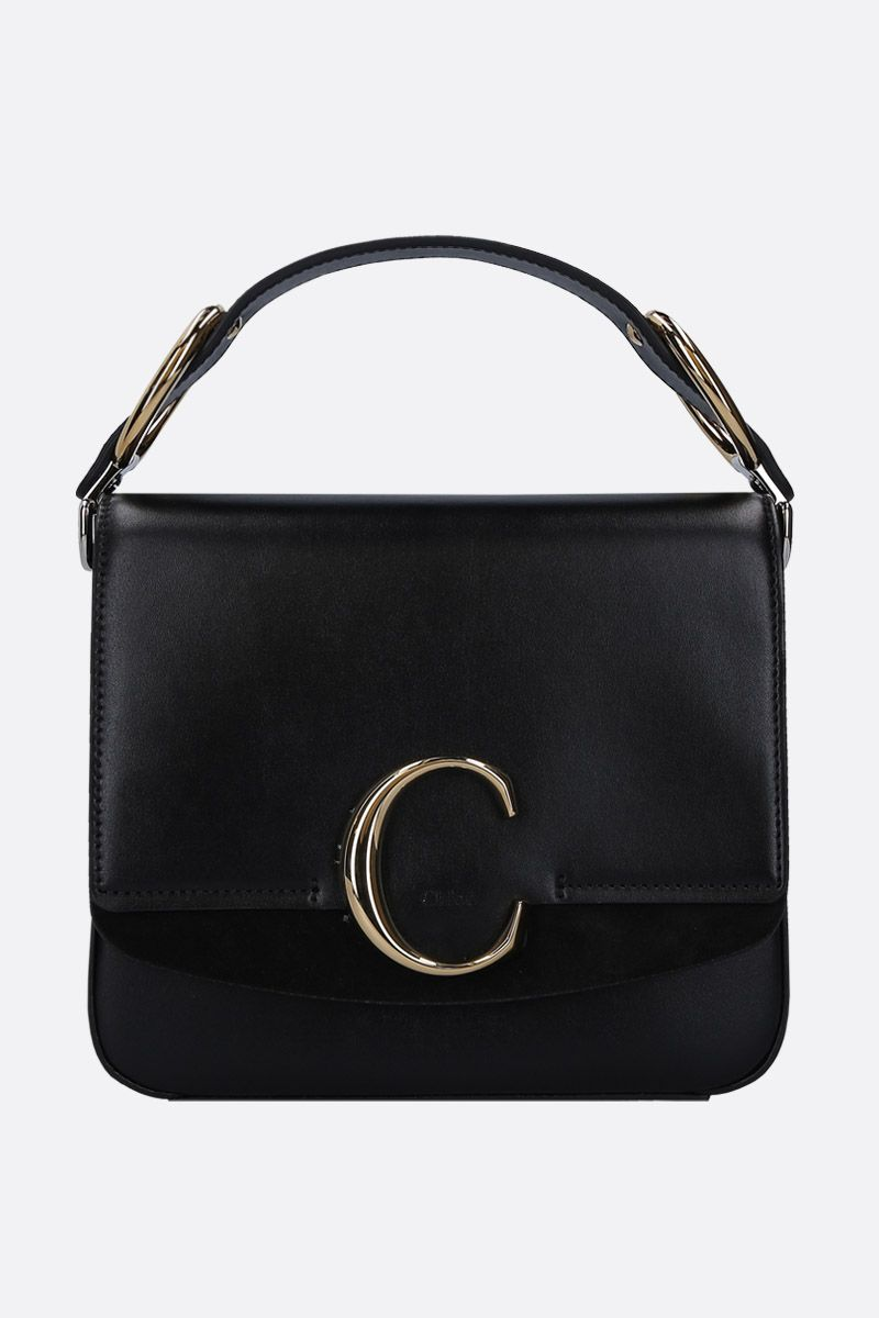 CHLOÈ: Chloè C small shoulder bag in smooth leather and suede Color Black_1