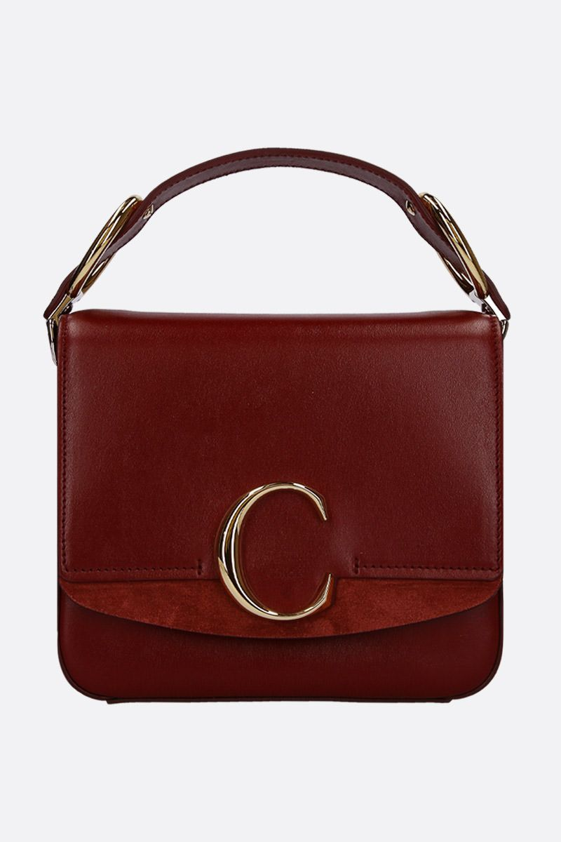 CHLOÈ: Chloè C small shoulder bag in smooth leather and suede Color Brown_1