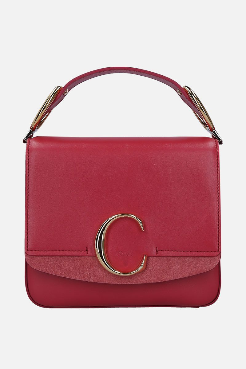 CHLOÈ: Chloè C small shoulder bag in smooth leather and suede_1