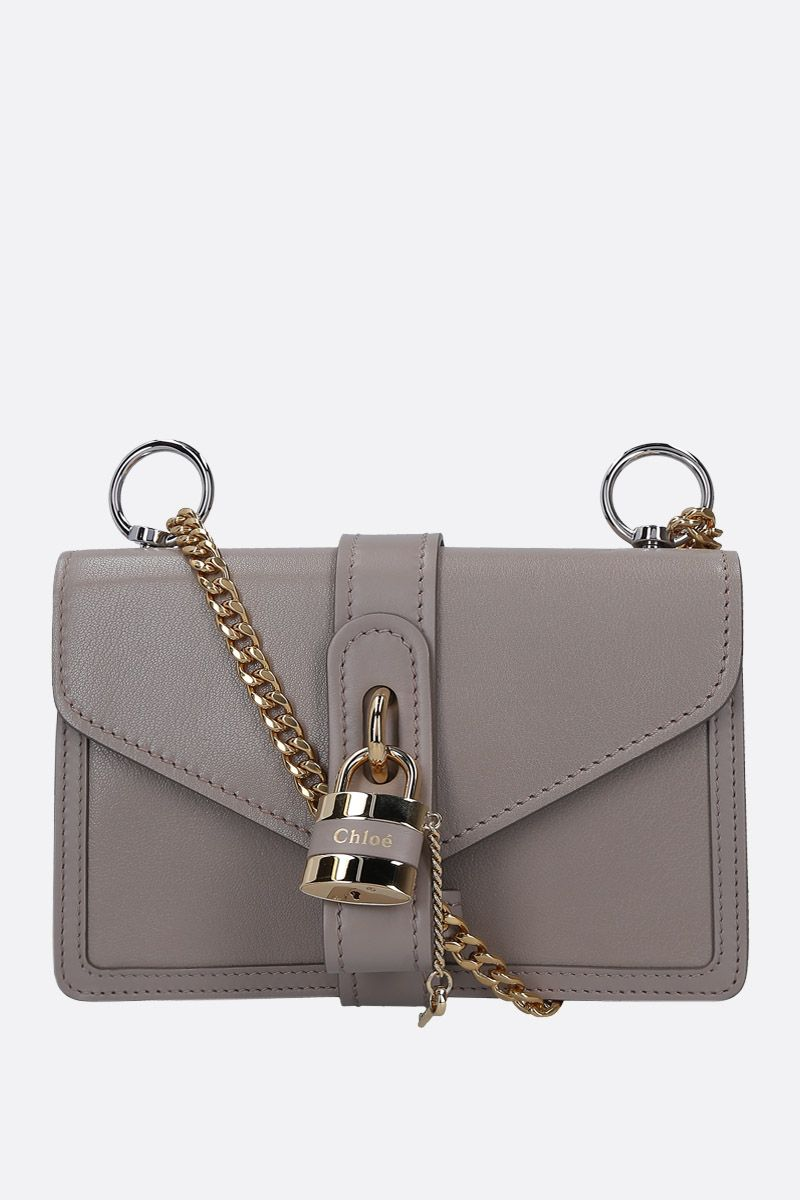 CHLOÈ: Aby shoulder bag in textured leather Color Grey_1
