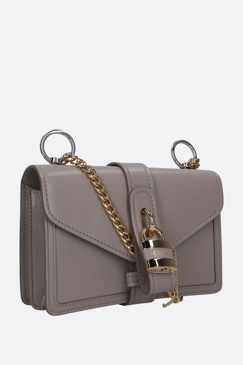 CHLOÈ: Aby shoulder bag in textured leather Color Grey_2