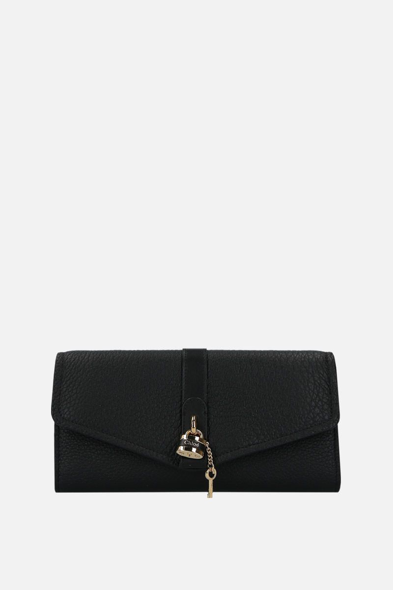 CHLOÈ: Aby chain wallet in grainy leather Color Black_1