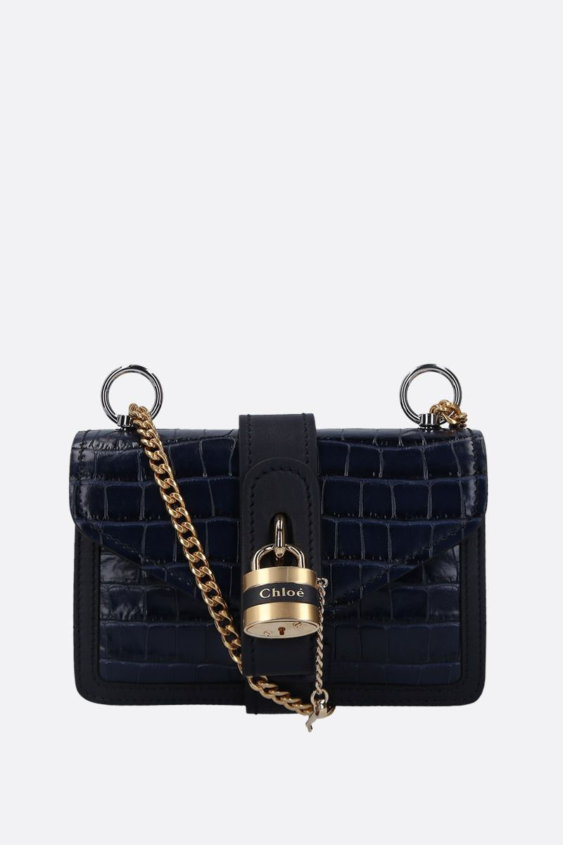CHLOÈ: Aby small shoulder bag in crocodile embossed leather Color Blue