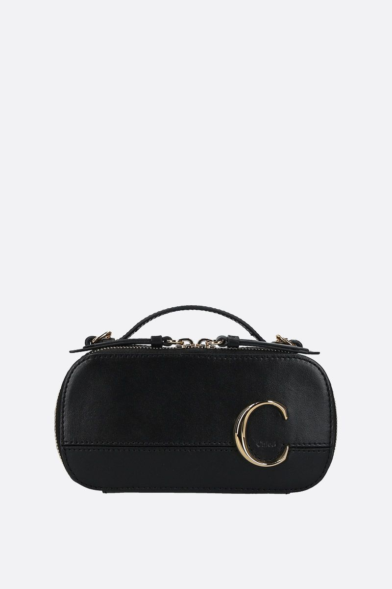 CHLOÈ: Chloè C Vanity mini crossbody bag in smooth leather Color Black_1