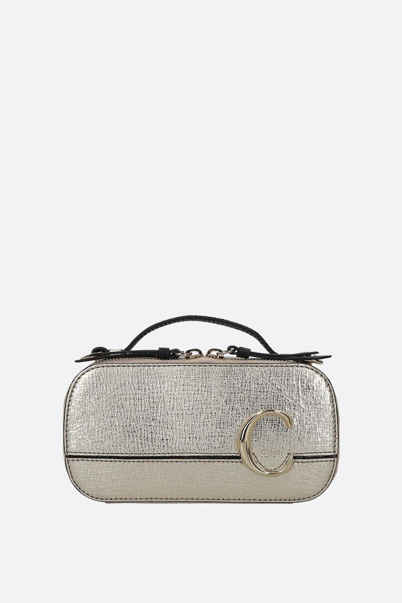 CHLOÈ: Chloè C Vanity mini crossbody bag in crackled leather Color Gold_1