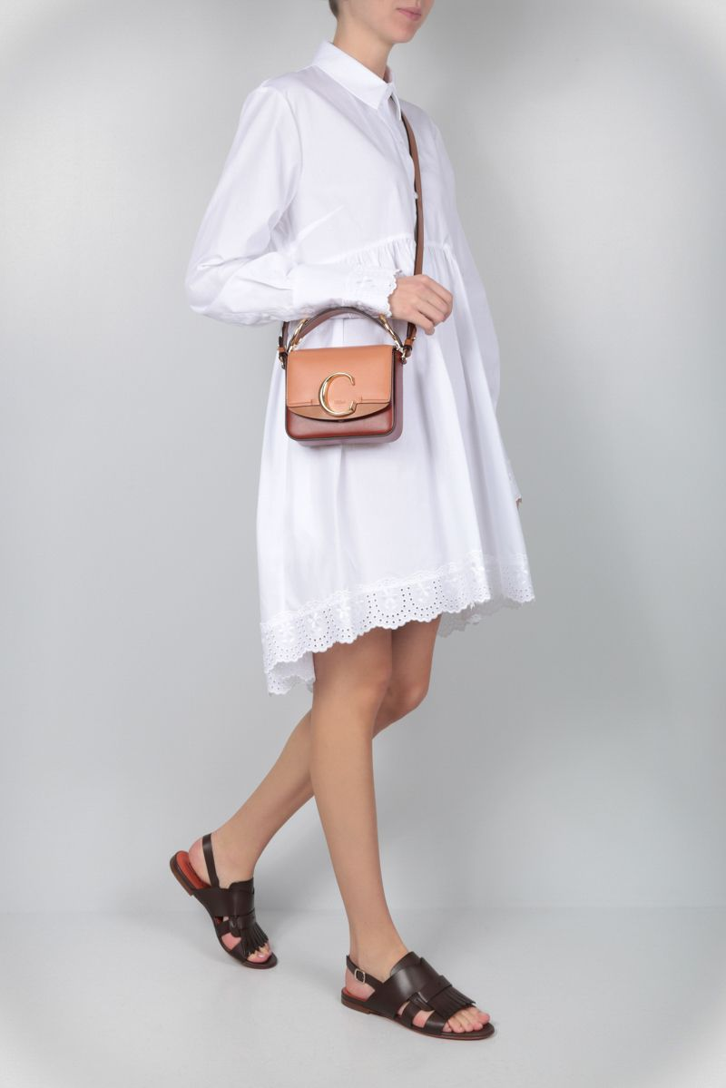 CHLOÈ: Chloè C mini shoulder bag in smooth leather Color Brown_2