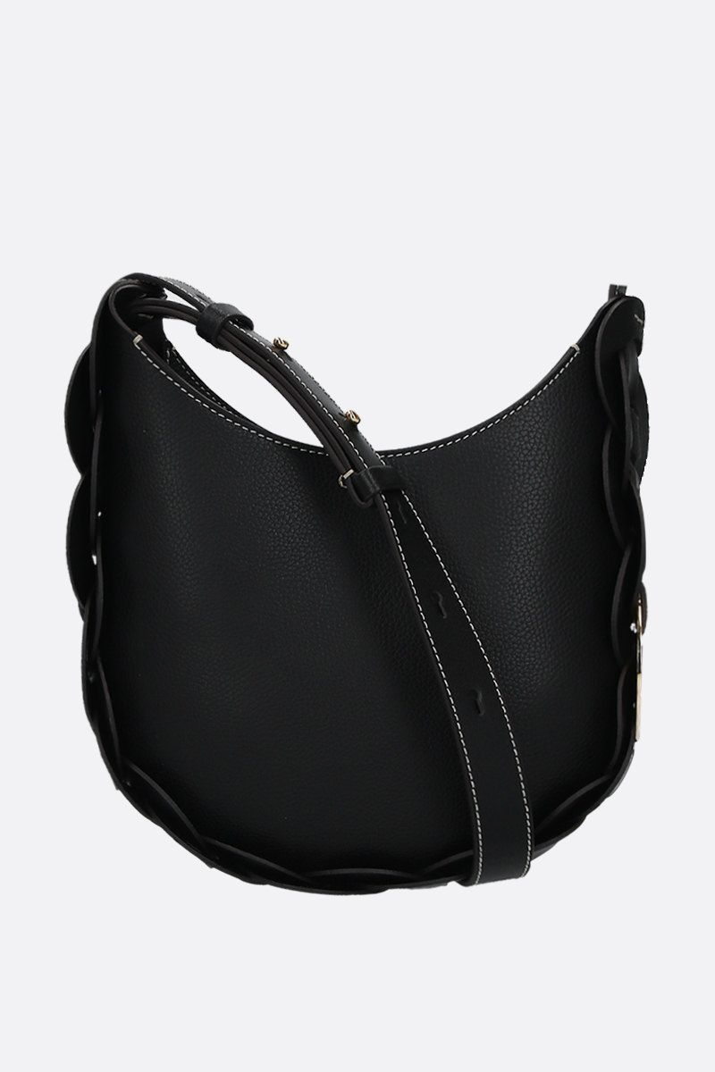 CHLOÈ: Darryl small grainy leather hobo bag Color Black_1