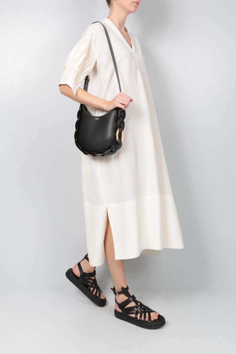 CHLOÈ: Darryl small grainy leather hobo bag Color Black_2