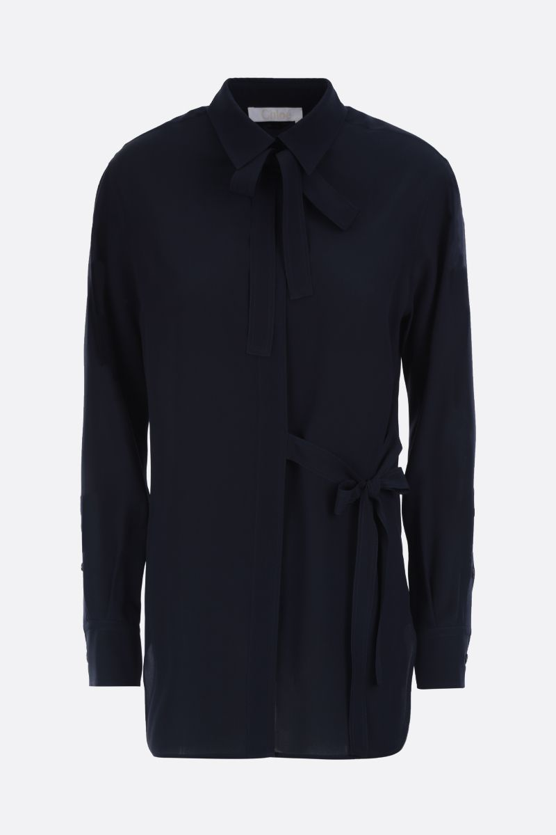 CHLOÈ: lavallière silk shirt Color Blue_1