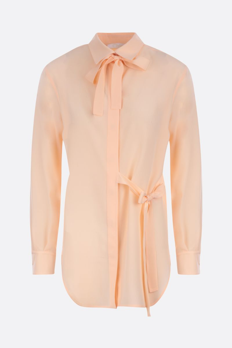 CHLOÈ: lavallière silk shirt Color Pink_1