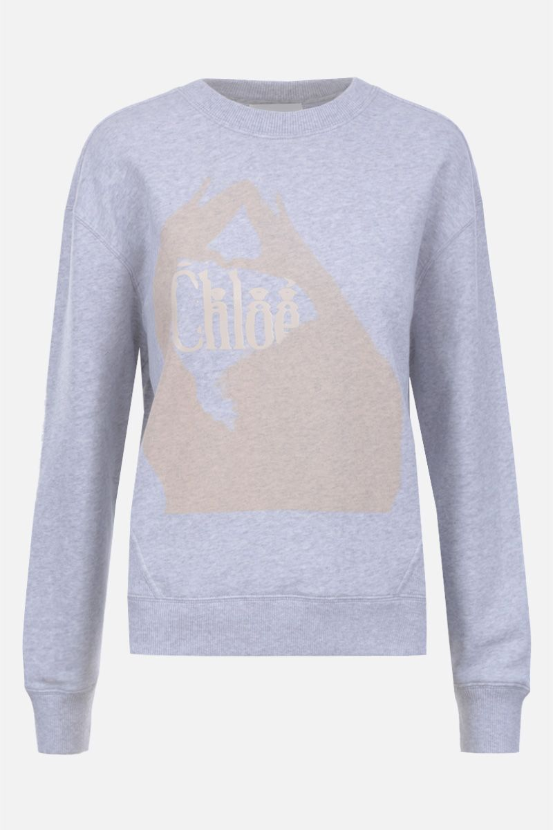 CHLOÈ: logo print cotton sweatshirt Color Grey_1