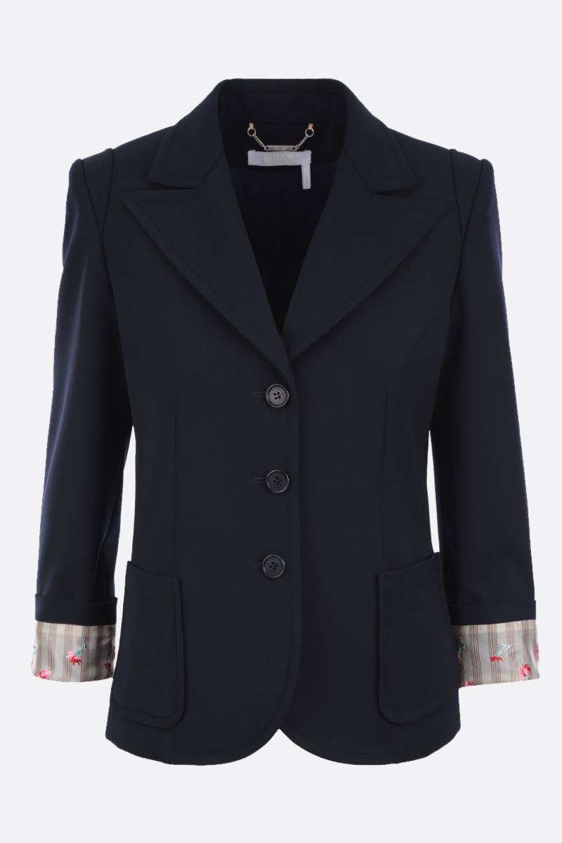 CHLOÈ: wool blend single-breasted jacket with embroidered turn-up cuffs Color Blue_1