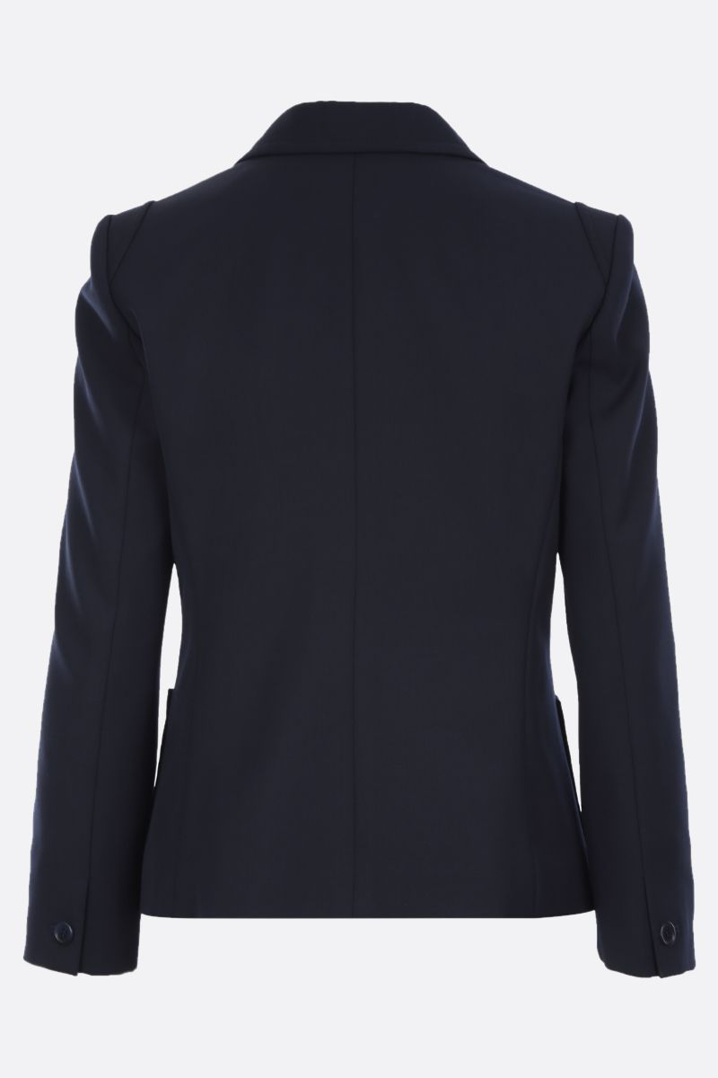 CHLOÈ: wool blend single-breasted jacket with embroidered turn-up cuffs Color Blue_2