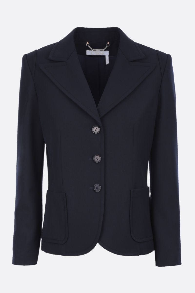 CHLOÈ: wool blend single-breasted jacket with embroidered turn-up cuffs Color Blue_3