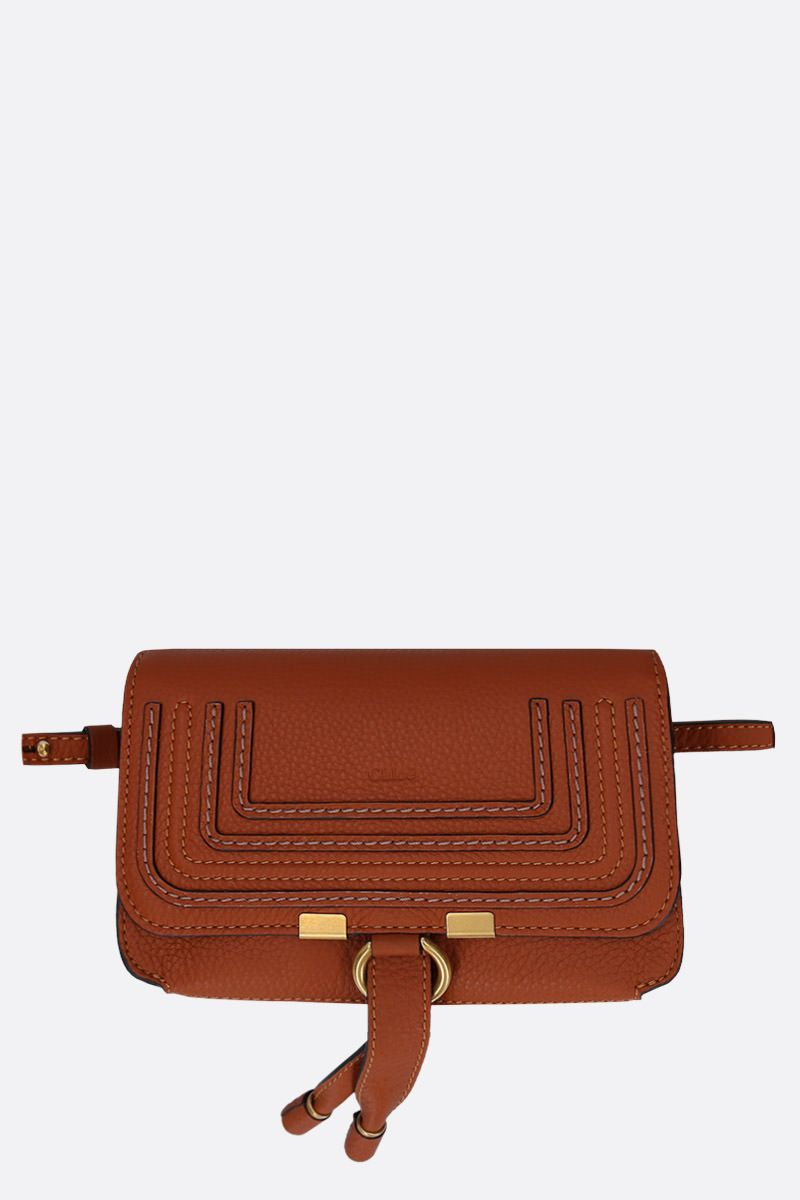 CHLOÈ: Marcie belt bag in grainy leather Color Brown_1