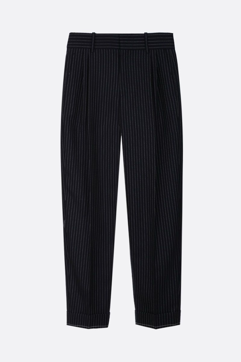 CHLOÈ: pinstriped wool carrot-fit pants Color Blue_1