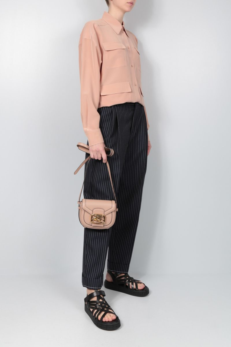 CHLOÈ: pinstriped wool carrot-fit pants Color Blue_2