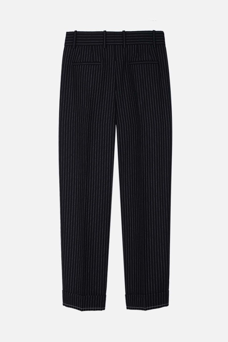 CHLOÈ: pinstriped wool carrot-fit pants Color Blue_3