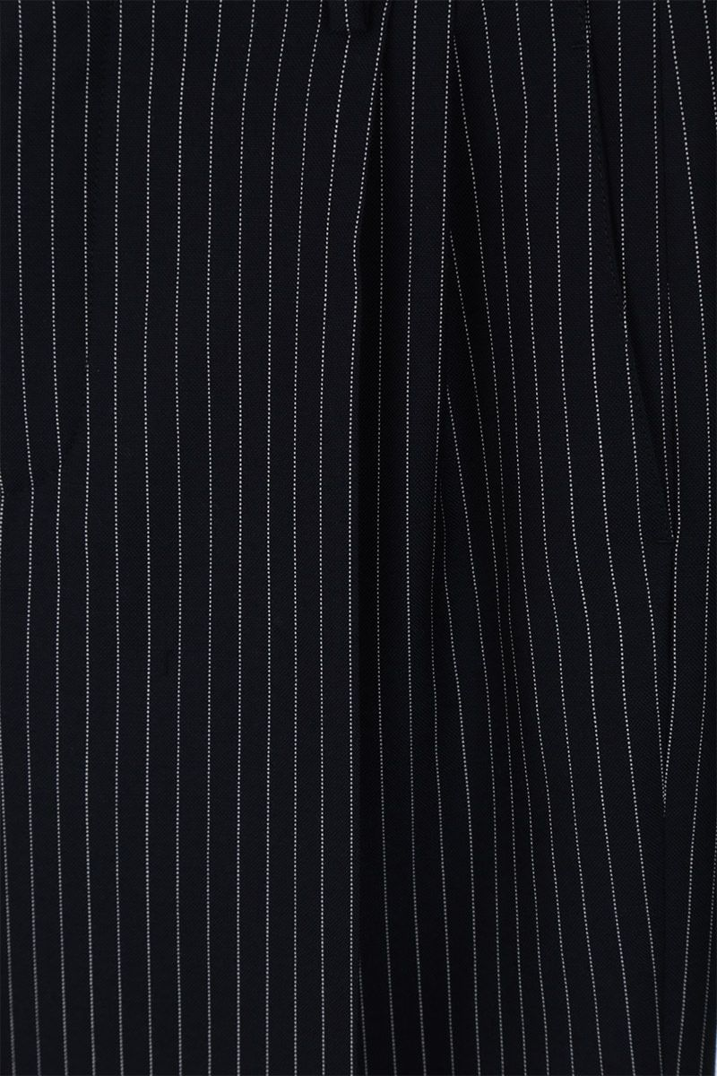 CHLOÈ: pinstriped wool carrot-fit pants Color Blue_4