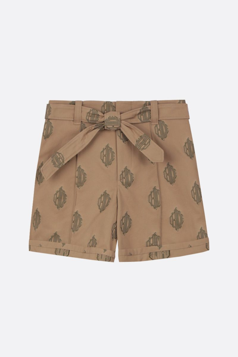 CHLOÈ: cotton jacquard belted shorts Color Neutral_1