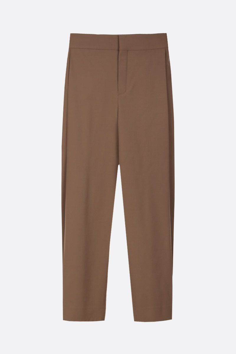 CHLOÈ: pantalone carrot-fit in misto lana Colore Verde_1