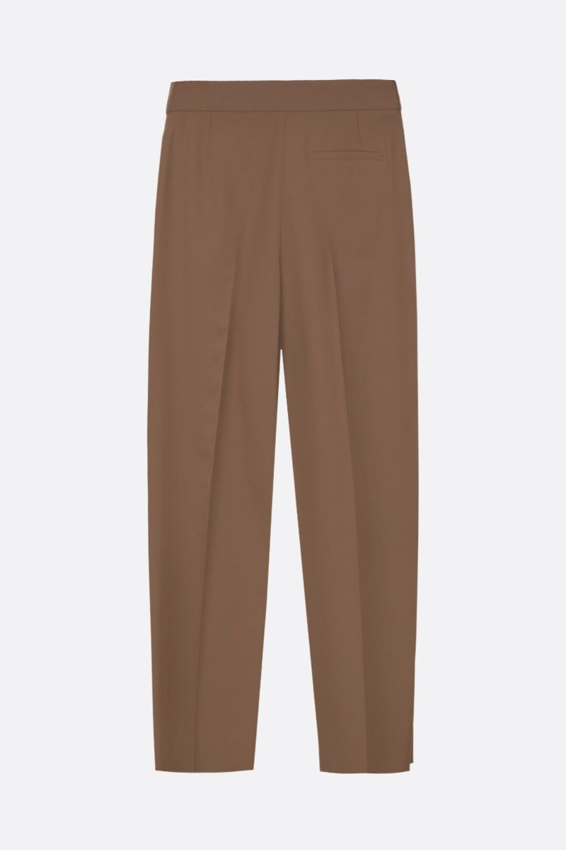 CHLOÈ: pantalone carrot-fit in misto lana Colore Verde_3