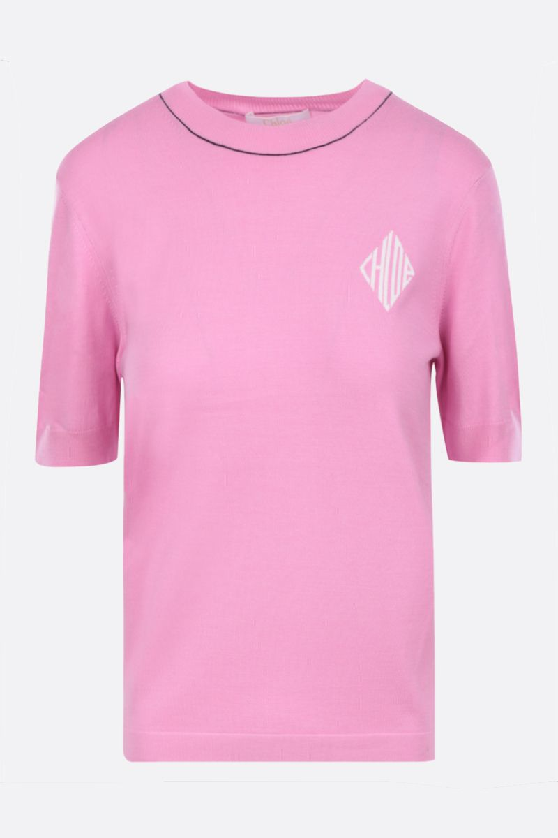 CHLOÈ: short-sleeved pullover in wool silk blend Color Pink_1