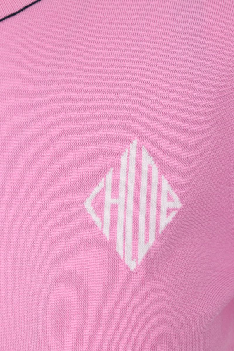 CHLOÈ: short-sleeved pullover in wool silk blend Color Pink_3