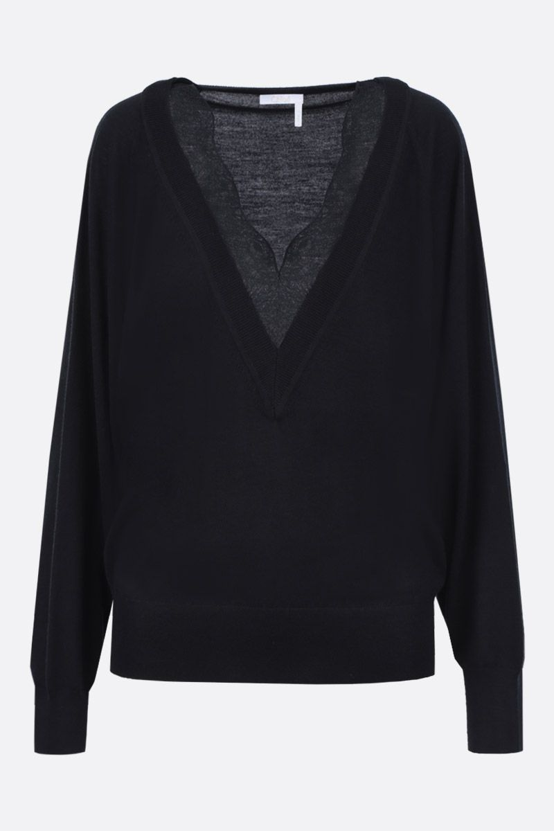 CHLOÈ: wool silk blend pullover with lace insert Color Black_1