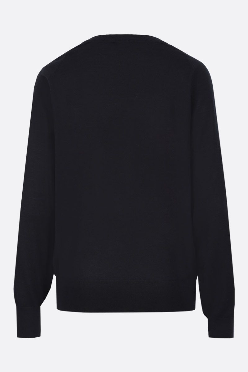 CHLOÈ: wool silk blend pullover with lace insert Color Black_2