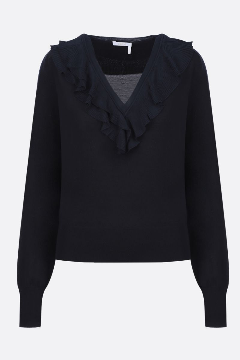 CHLOÈ: wool pullover with pleated frills Color Blue_1