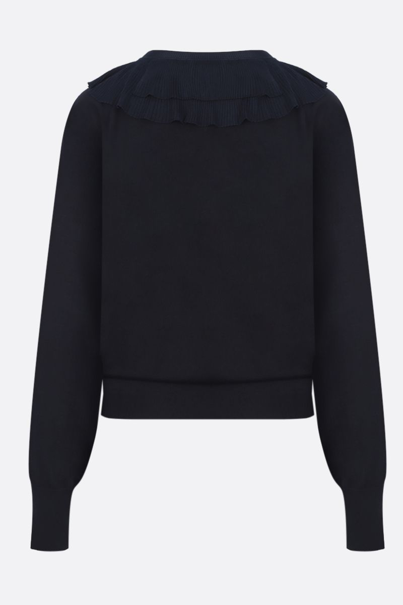 CHLOÈ: wool pullover with pleated frills Color Blue_2