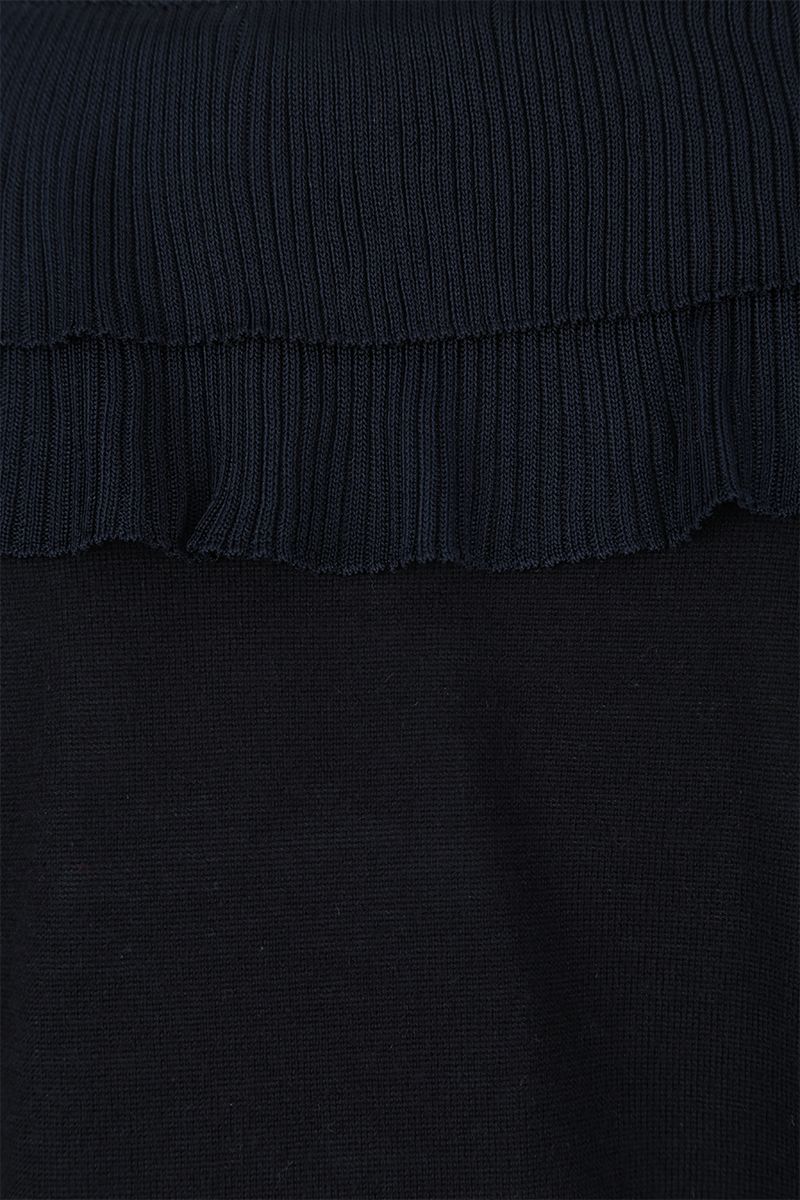 CHLOÈ: wool pullover with pleated frills Color Blue_3