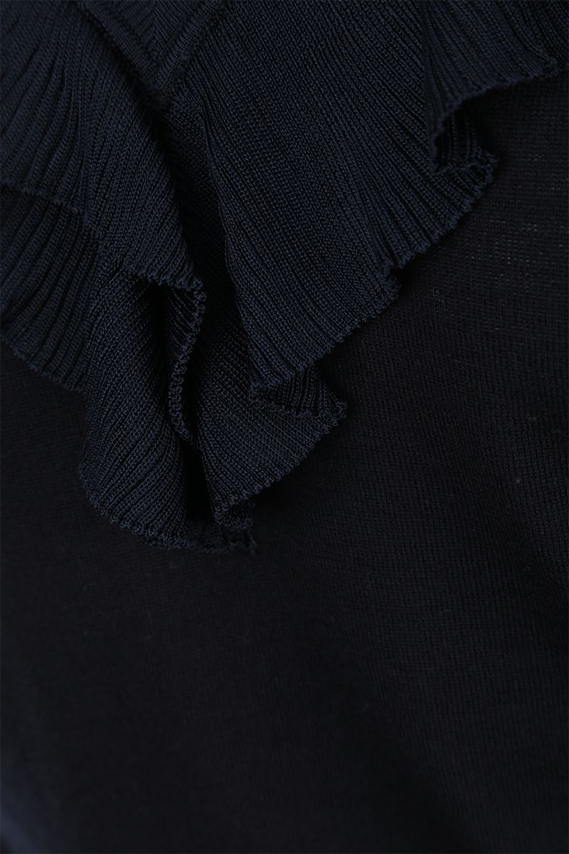 CHLOÈ: wool pullover with pleated frills Color Blue_4