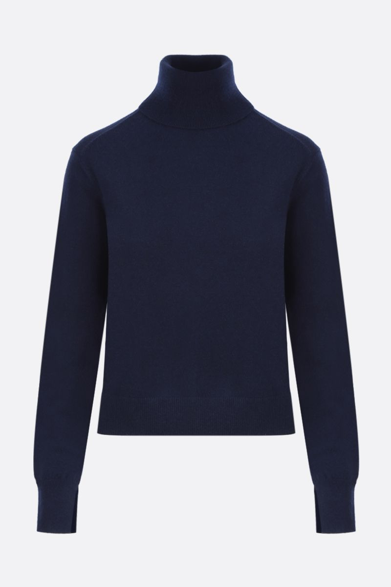 CHLOÈ: C embroidered cashmere blend turtleneck Color Blue_1