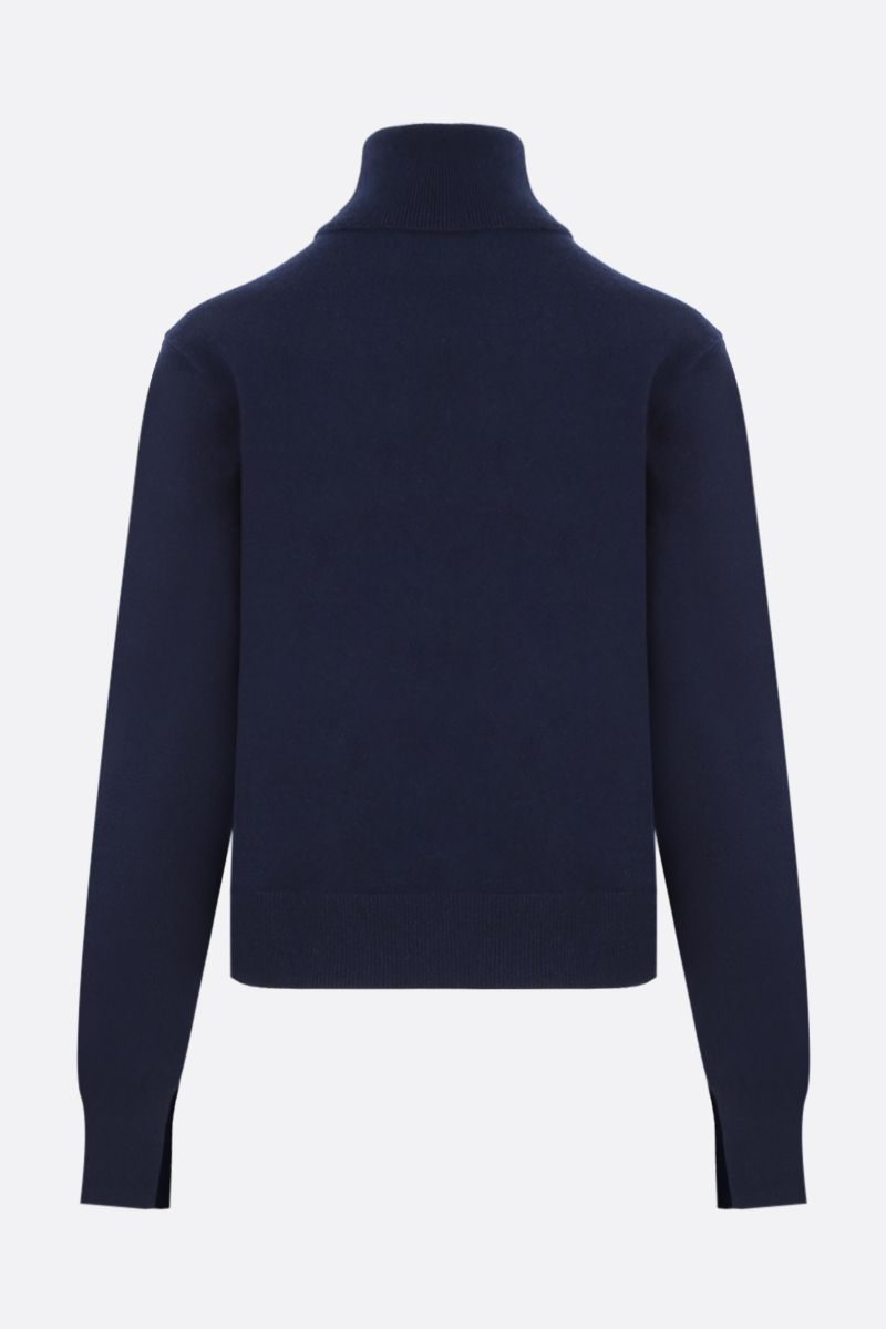 CHLOÈ: C embroidered cashmere blend turtleneck Color Blue_2