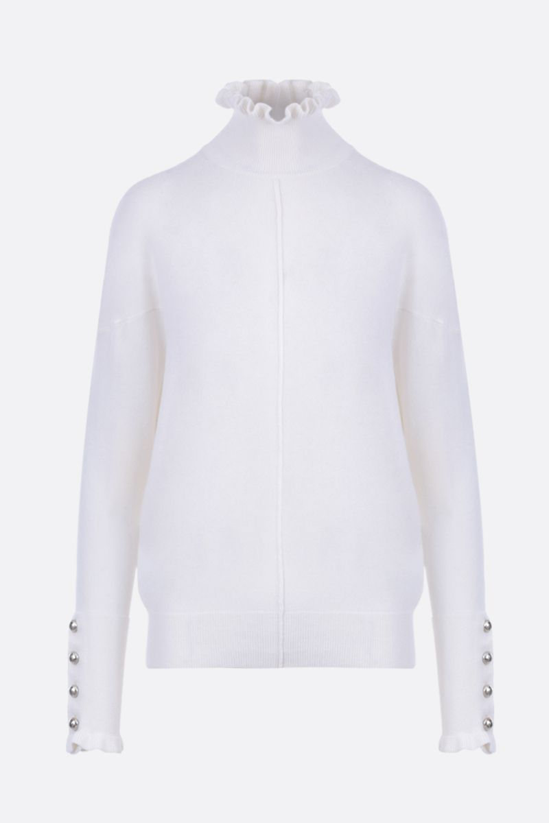 CHLOÈ: cashmere blend pullover with frilled details Color White_1