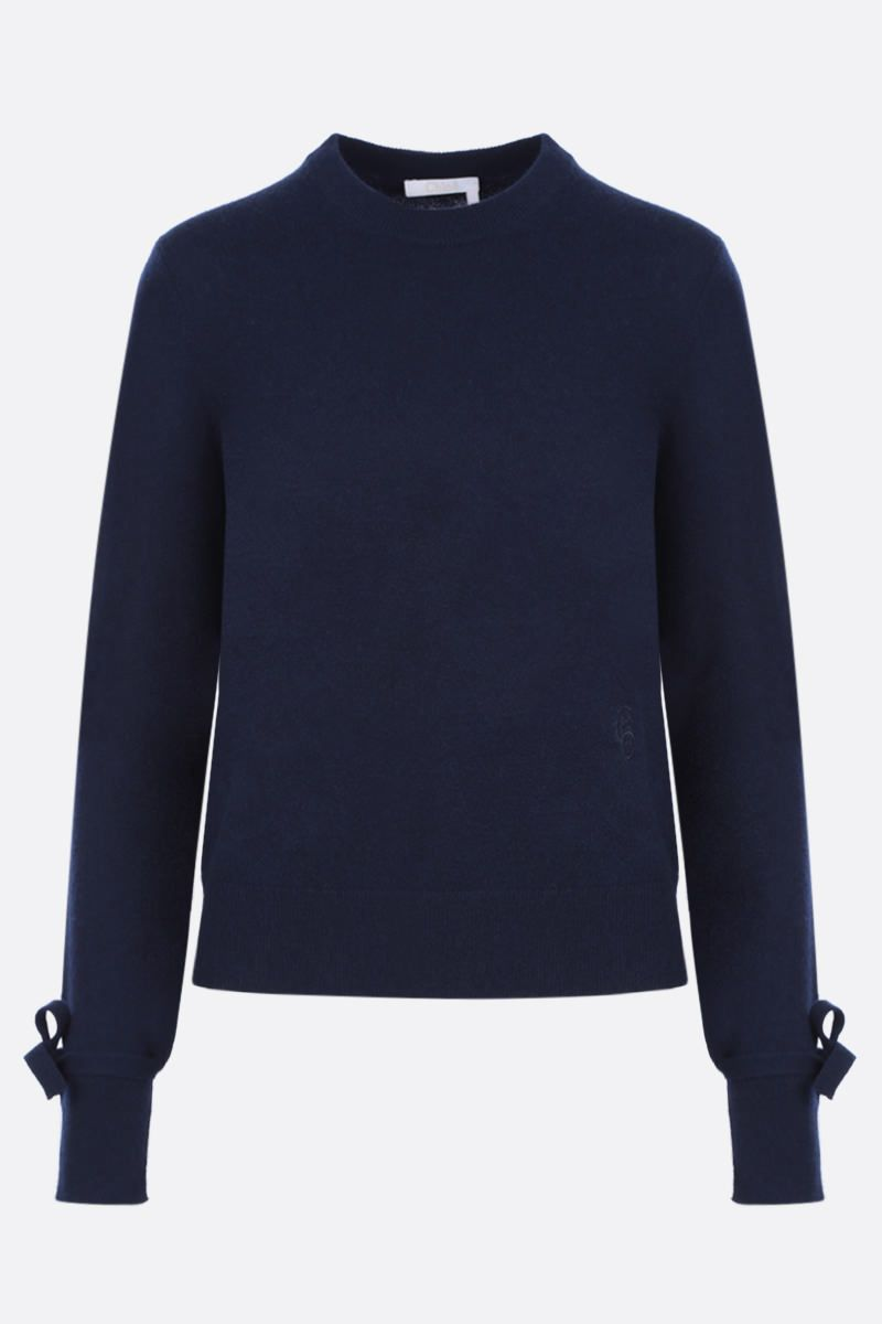 CHLOÈ: cashmere pullover withh wrist ties Color Blue_1