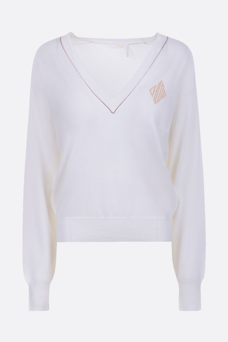CHLOÈ: monogram intarsia wool silk blend pullover Color White_1