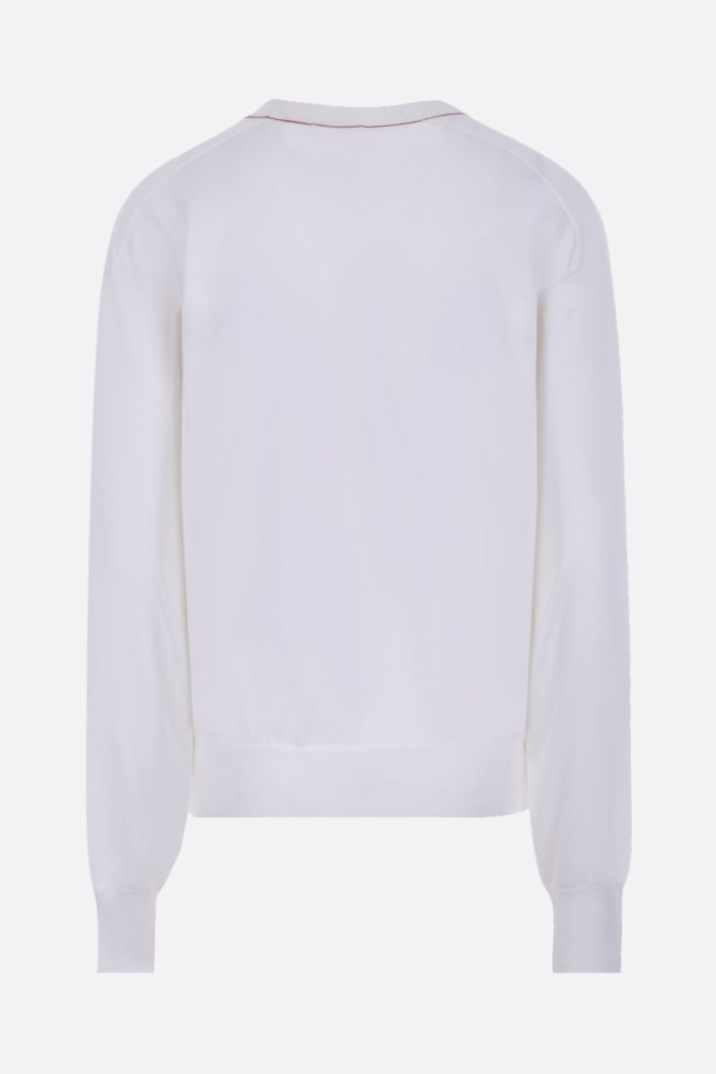 CHLOÈ: monogram intarsia wool silk blend pullover Color White_2