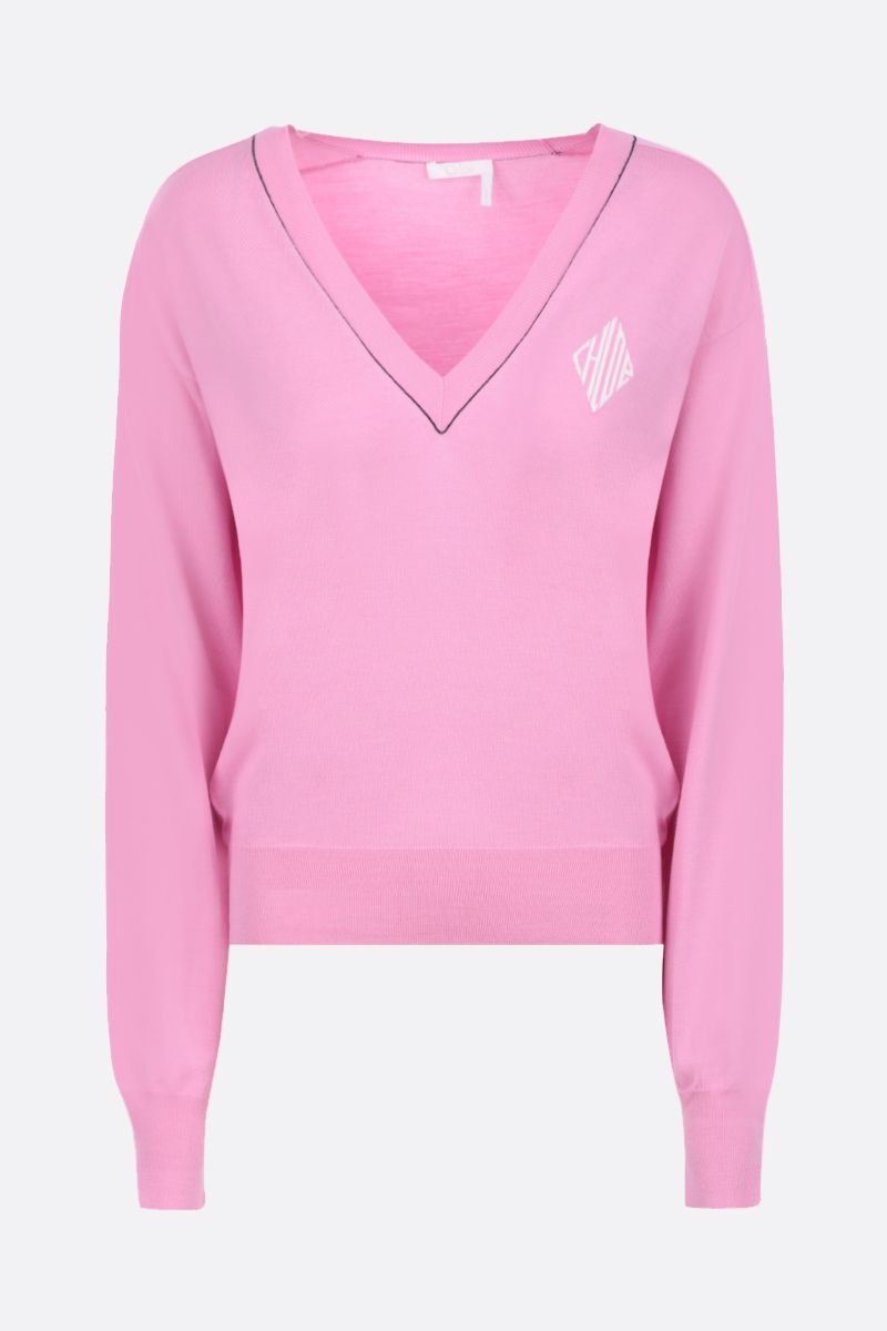 CHLOÈ: monogram intarsia wool silk blend pullover Color Pink_1