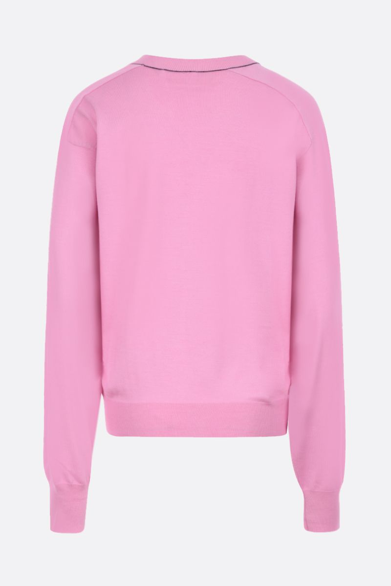 CHLOÈ: monogram intarsia wool silk blend pullover Color Pink_2
