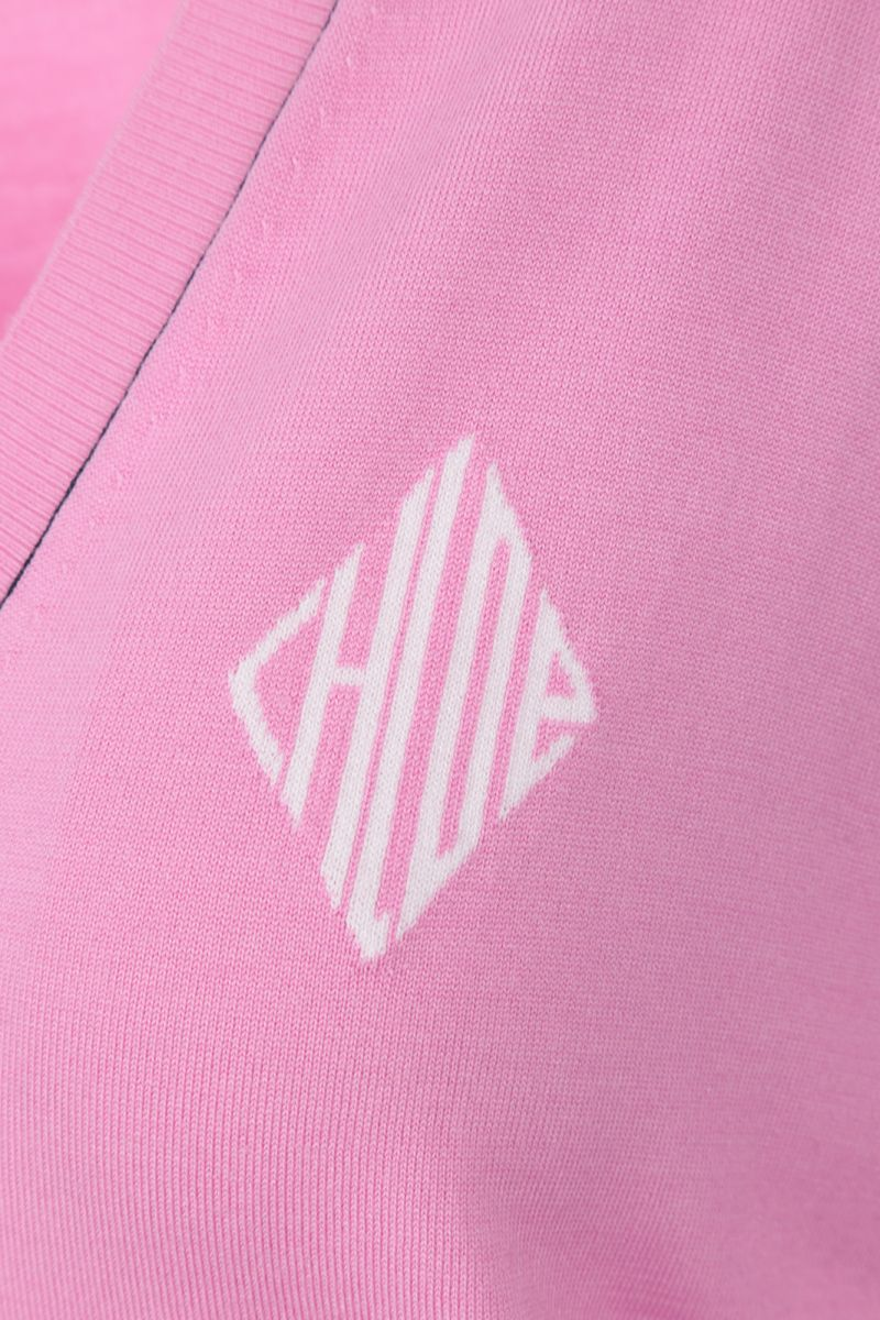 CHLOÈ: monogram intarsia wool silk blend pullover Color Pink_3