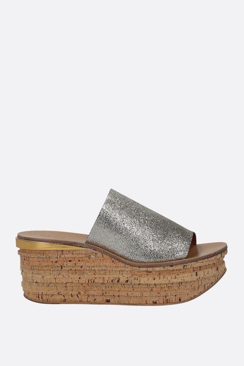 CHLOÈ: Camille wedge sandals in glitter leather Color Grey_1