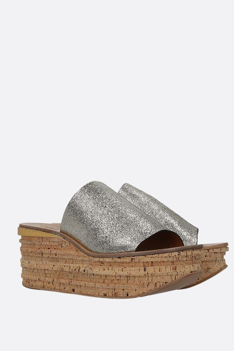 CHLOÈ: Camille wedge sandals in glitter leather Color Grey_2