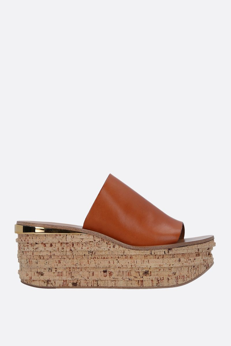CHLOÈ: Camille wedge mule sandals in smooth leather Color Brown_1